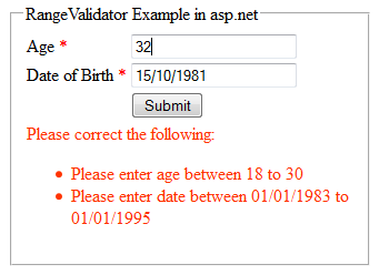 Validating date range in asp net